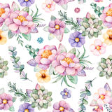 Lovely Seamless pattern with flowers,peonies,leaves,branches,eucalyptus,succulents, Stock Images