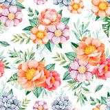 Lovely Seamless pattern with flowers,peonies,leaves,branches,roses,leaves Royalty Free Stock Photos