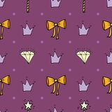 Lovely seamless pattern with hand-drawn bows, crowns, and diamonds.  Stock Photos