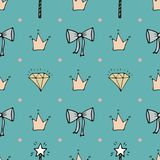 Lovely seamless pattern with hand-drawn bows, crowns, and diamonds. Blue background Stock Photo