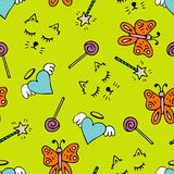 Lovely seamless pattern with a hand-drawn muzzle of a cat, hearts. Butterflies and a magic wands Stock Photo