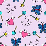Lovely seamless pattern with a hand-drawn muzzle of a cat and hearts. Lovely seamless pattern with a hand-drawn muzzle of a cat, hearts, butterflies and a magic Stock Image