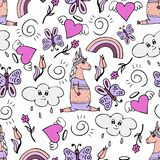 Lovely seamless pattern with hand-drawn unicorns and doodle. Lovely seamless pattern with hand-drawn unicorns and cute doodles Stock Photos