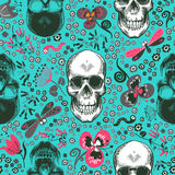Lovely seamless pattern with human skulls drawn in etching style, pink, gray and black flowers and cartoon insects Stock Photo