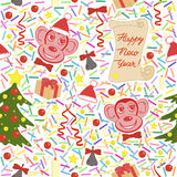 Lovely seamless  pattern of  New Year. Endless background. Stock Photo