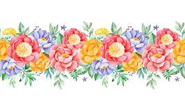 Lovely seamless repeat border with peony,rose,leaves,flowers,branches and berries Royalty Free Illustration