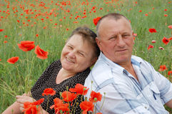 Lovely senior couple. Enjoying in the poppy field royalty free stock photo