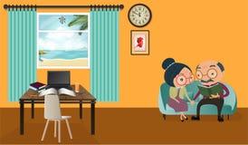 Lovely senior couple cartoon sitting on sofa reading a book at h stock illustration