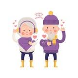 Lovely Senior Couple Sending Love for Valentine Royalty Free Stock Images