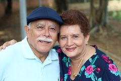 Lovely senior Hispanic couple close up royalty free stock photography
