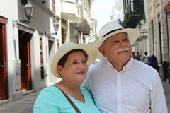 Lovely senior Hispanic couple close up stock images
