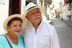 Lovely senior Hispanic couple outdoors close up stock photo