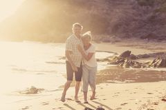 Lovely senior mature couple on their 60s or 70s retired walking Stock Image