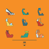 Lovely set with stylish fashion shoes, hand drawn and isolated on orange background. Vector illustration showing various wedge hig. H heels sandals. Creative Royalty Free Stock Photo