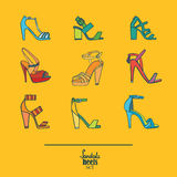 Lovely set with stylish fashion shoes, hand drawn and isolated on yellow background. Vector illustration showing various stiletto. High heels sandals. Creative Stock Images