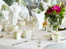Lovely set table for a party. Party table and favors set up Stock Images
