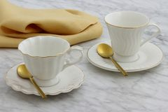 Lovely set of tea cups royalty free stock photos