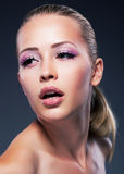 Lovely cute girl - fresh beautiful face close Royalty Free Stock Image