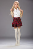 Lovely sexy girl in checkered short skirt Stock Photography