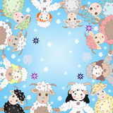 Lovely sheep and girls dressed as sheep in a circle Royalty Free Stock Image