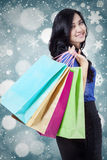 Lovely shopper with winter background Royalty Free Stock Photography