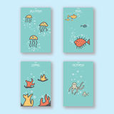 Lovely simple unique animal sea Handrawn Postcard Cover Design layout royalty free stock images