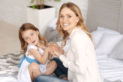 Free Lovely Single-parent Family Bonding On The Bed Royalty Free Stock Image - 94300926
