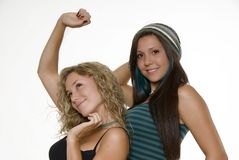 Lovely sisters. In studio white background Royalty Free Stock Image