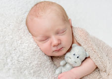 Lovely sleeping baby with soft toy, closeup Royalty Free Stock Photos