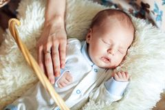 Lovely sleeping newborn boy is dressed in overalls and booties lies in the basket stock photos