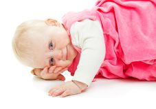 The lovely smiling girl lies on hand Royalty Free Stock Images