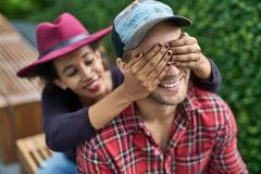 Dating of interracial couple Stock Photo