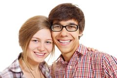 Lovely smiling teenage couple Stock Photo