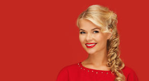 Lovely smiling woman in red Stock Photography
