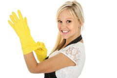 Lovely Smiling Woman in Yellow Gloves Stock Photography