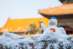 Lovely snow man Stock Photos