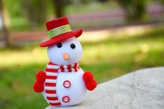 Lovely snow man in garden Stock Image