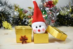 Lovely snow man in gift box with christmas time Royalty Free Stock Photo