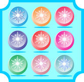 Lovely snowflakes. Set of icons for design and decoration in blu. E framed Stock Image