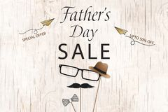 Lovely Special offer Father`s Day sale promotion vector. Template for flyer, brochure, discount, Banner, Poster. Design. With bow tie, hat, mustache, black Stock Image