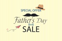 Lovely Special offer Father`s Day sale promotion vector. Template for flyer, brochure, discount, Banner, Poster. Design. With blue bow tie, hat, mustache, black Stock Images