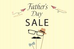 Lovely Special offer Father`s Day sale promotion vector. Template for flyer, brochure, discount, Banner, Poster. Design. With blue bow tie, hat, mustache, black Stock Image