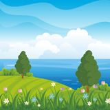 Lovely Spring landscape background with cartoon style. Cute, adorable and trendy design. suitable for game background, cover, flyer, brochure and other Royalty Free Stock Image