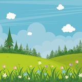 Lovely Spring landscape background with cartoon style. Cute, adorable and trendy design. suitable for game background, cover, flyer, brochure and other Royalty Free Stock Photography