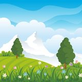 Lovely Spring landscape background with cartoon style. Cute, adorable and trendy design. suitable for game background, cover, flyer, brochure and other Stock Photo