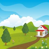 Lovely Spring landscape background with cartoon style. Cute, adorable and trendy design. suitable for game background, cover, flyer, brochure and other Royalty Free Stock Photos