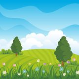 Lovely Spring landscape background with cartoon style. Cute, adorable and trendy design. suitable for game background, cover, flyer, brochure and other Royalty Free Stock Photo