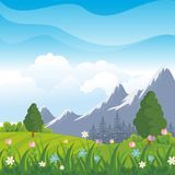 Lovely Spring landscape background with cartoon style. Cute, adorable and trendy design. suitable for game background, cover, flyer, brochure and other Stock Photography