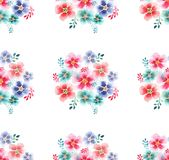 Lovely spring sophisticated tender beautiful gentle floral wonderful colorful mallow pattern. Watercolor hand illustration Stock Image