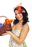 Lovely spring woman hold basket with flowers Royalty Free Stock Images